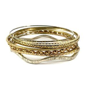 Stack of Silver Tone and Gold Tone Bangles